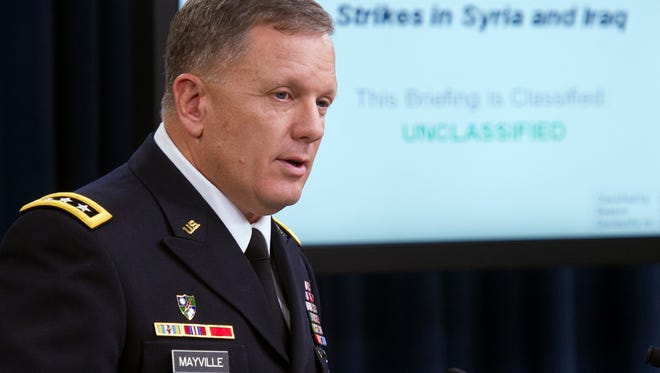 Army Lt. Gen. William Mayville Jr. speaks about the operations in Syria Tuesday at the Pentagon.