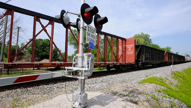 A train is stopped on the tracks in Grand Ledge Thursday morning.