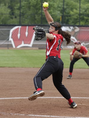 Pulaski's Liz Pautz pitched a no-hitter with 16 strikeouts during a WIAA Division 1 quarterfinal game against Divine Savior Holy Angles at Goodman Diamond in Madison on June 9.