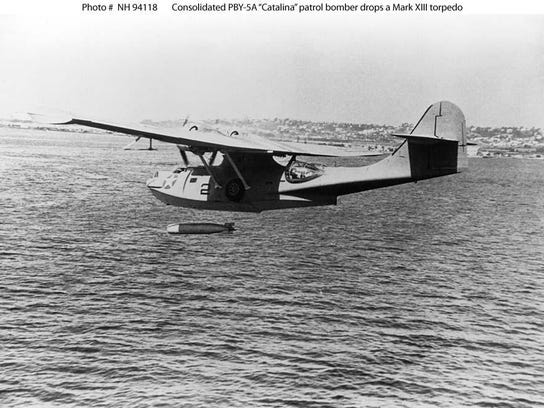 Consolidated PBY-5A Catalina patrol bomber Drops a