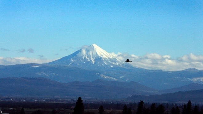 A bird glides in front of Mount McLoughlin, which at 9,495 feet is the highest peak in Southern Oregon.