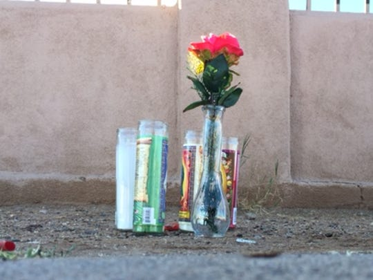 A memorial near the home of Nathan Valdez's relatives on Feb. 11, 2016.