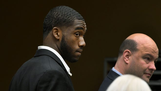 Former UT football player Ryan Thaxton appears in Knox County General Sessions for his arraignment July 23. Thaxton pleaded guilty to false imprisonment Tuesday.