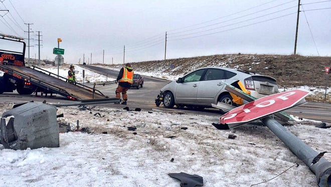 A southbound Toyota Prius smashed into a Chevrolet sedan Friday afternoon at the intersection of U.S. Highway 287 and North Overland Trail. Nobody was seriously injured.