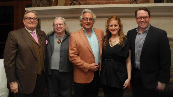 "Honorees Teddy Clayton, Brenda Batey, Rusty Terry, Sinclair Kelly and Brian Barry at The ""Real"" Social Media, an event committee kickoff reception, a fund raiser for Belmont Mansion, held at the home of Theresa Godchaux."