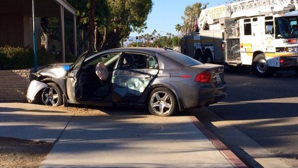 Two vehicles collide near Panda Express in Palm Springs on April 6, 2014.