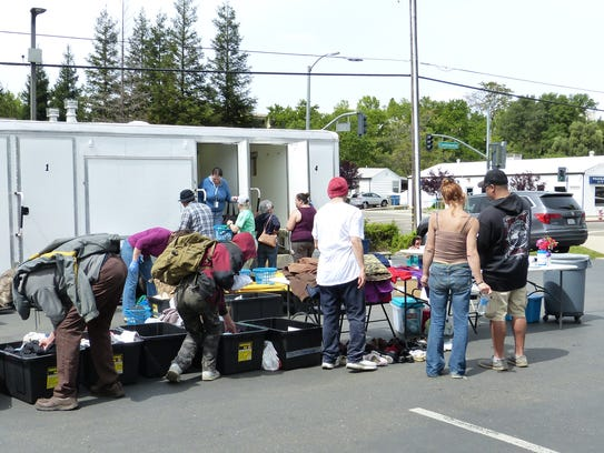 A number of people showed up for showers and food provided by the Clean Break Partnership.