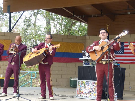 The band Mariachi Mixteco, from Chico, performs for