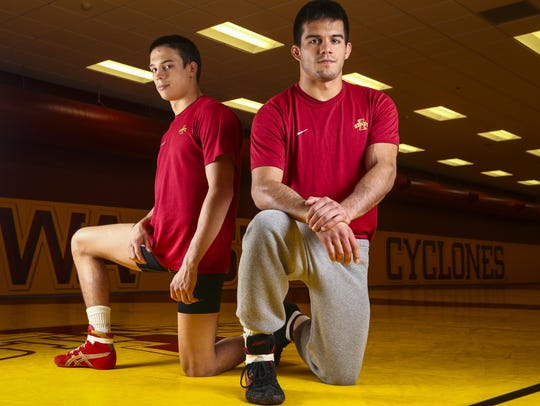 Iowa State wrestlers and brothers Gabe, left, and Michael