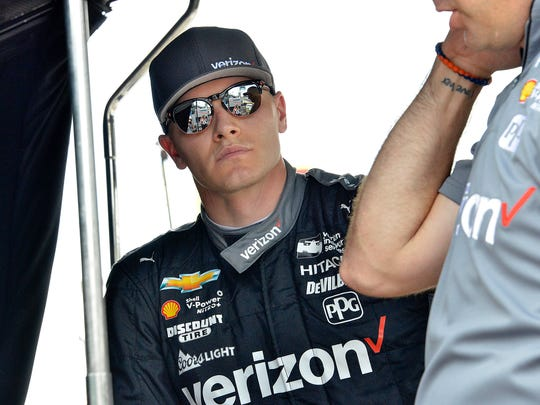 Team Penske IndyCar driver Josef Newgarden (1) during practice for the Indianapolis 500 at the Indianapolis Motor Speedway on Tuesday, May 15, 2018.