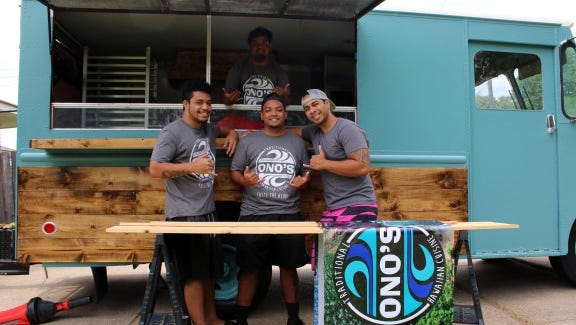 Sione Maumalanga (far right) and members of the Ono's Traditional Hawaiian Cuisine team are preparing for the June 4 launch of their food truck at the Shreveport Farmers' Market.