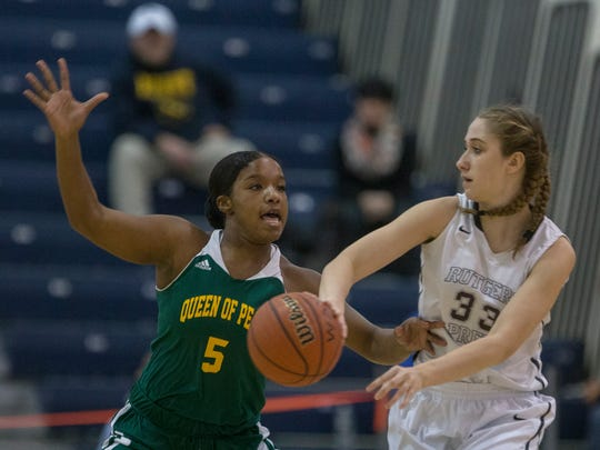 Rutgers' Madison Stanley tries to pass in as she's