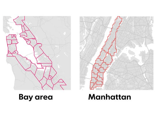 Uber's surge pricing zones, according to the study.