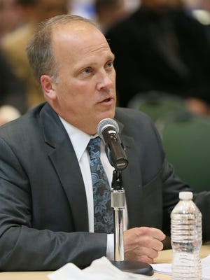 Wisconsin Attorney General Brad Schimel testifies at an April 2016 panel in Pewaukee about the heroin epidemic. The Waukesha County Drug Treatment Court, which Schimel helped create, recently received some federal grant money.