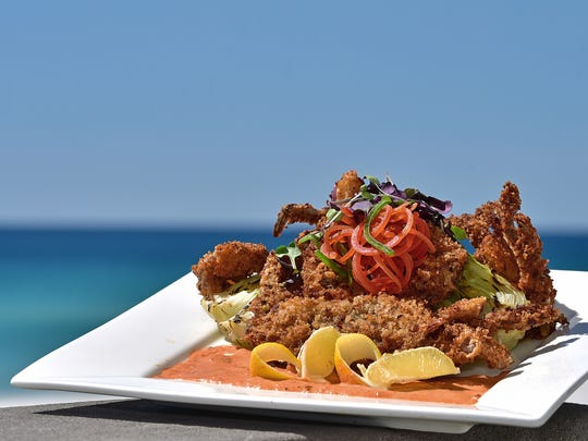 Panko and Gator Sausage encrusted Soft Shell Crab with Remoulade, courtesy of Margaritaville.