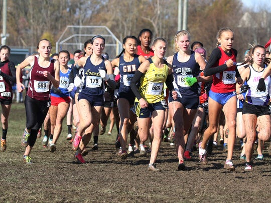 Wayne Central's Adriana Behrendt, in yellow jersey, at the start of the Class B race.