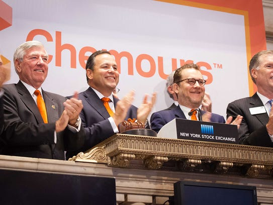 Officials for Chemours ring the bell at the New York