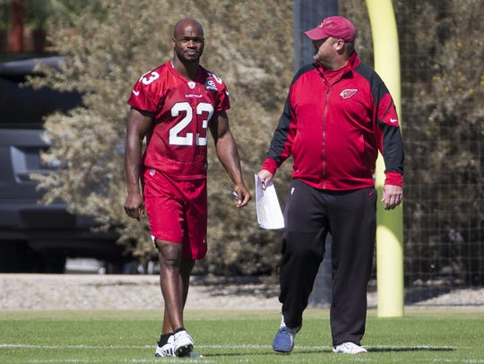 Arizona Cardinals running back Adrian Peterson talks