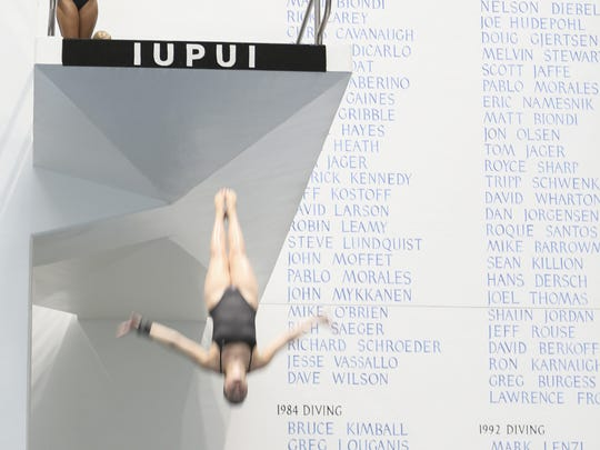 Divers practice in the newly renovated IUIPUI Natatorium on June 7, 2016 in Downtown Indianapolis.