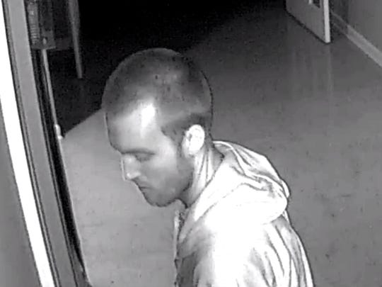 Logan Wallace has been identified as a suspect in a recent church burglary in Smyrna, shown here on surveillance tapes.