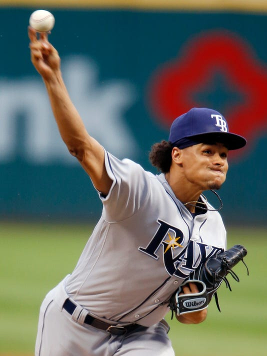 Tampa Bay Rays starting pitcher Chris Archer delivers against the Cleveland Indians during the first inning of a baseball game, Wednesday, June 22, 2016, in Cleveland. (AP Photo/Ron Schwane)