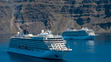 The Viking Sea in Santorini, Greece alongside its sister ship, Viking Star.