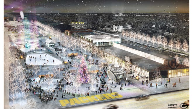 An artist's conceptual rendering shows a winter scene in the Titletown District, including the public plaza and Hinterland brewery.