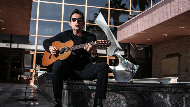 """Promoter and local radio DJ, Jim """"Jimi Fitz"""" Fitzgerald in front of the McCallum Theater in Palm Desert on Friday, December 2, 2016. He'll bring the first rock show to the theater this month."""