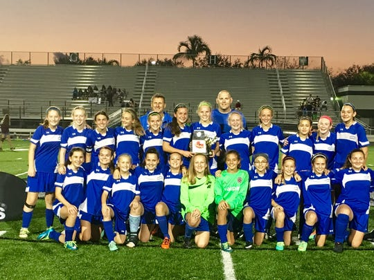 The Pine Ridge Middle School girls soccer team won the CCAC title with a convincing 5-0 win over Marco Island Charter Middle.