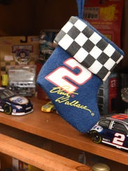 A NASCAR Christmas stocking, part of Donna Brunow's