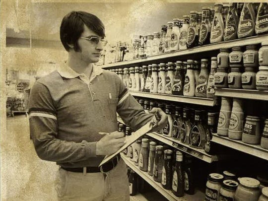 Doug Beavers does inventory in 1977 at Beavers Market.