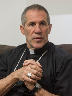 Archbishop Michael J. Byrnes is photographed during an interview at the archdiocesan chancery on Thursday, Feb. 2, 2017.