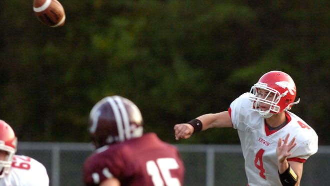 Former Erwin quarterback Robbie Nallenweg (4) leads the Indoor Football League in passing.