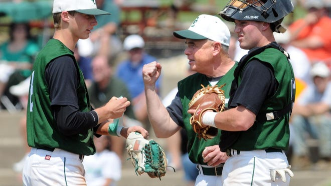 Former Central Catholic head coach Doug Miller (center) talks with pitcher Joe Tann (left) and catcher Alex Grove (right) during the 2011 tournament.
