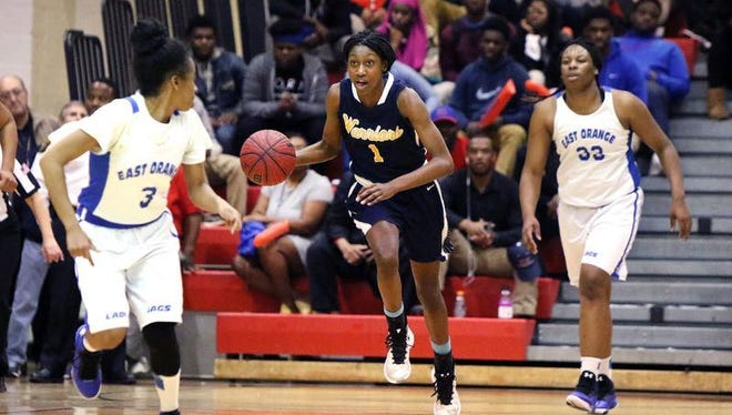 Franklin's Diamond Miller brings the ball down court against East Orange during their North 2 Group IV sectional final on Tuesday.