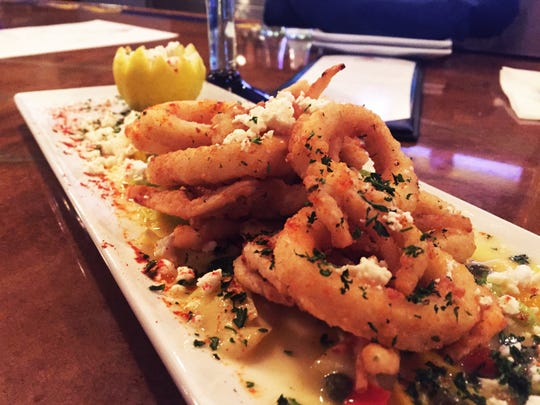 The Southwestern Calamari ($10.95) comes with bell peppers, artichokes, capers, pepperoncini, feta, parsley, paprika, melted butter and lemon