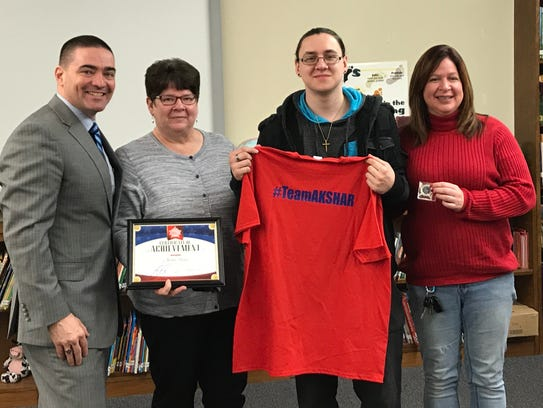 Broome-Tioga BOCES student Austin Skojec as recognized