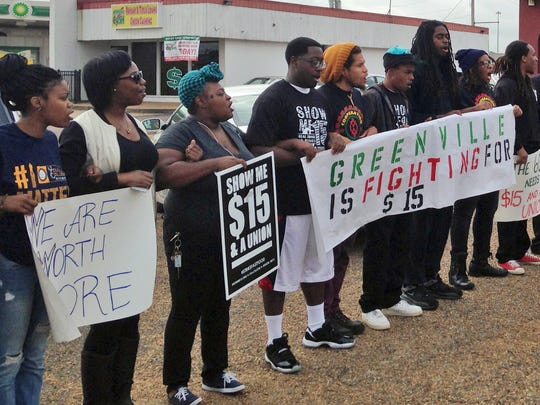 About 30 McDonald's workers and supporters demonstrated for higher wages outside a McDonald's restaurant in Jackson, Miss., Wednesday morning, April 15, 2015. Police arrested one of the lead demonstrators after a restaurant manager pressed trespassing charges.