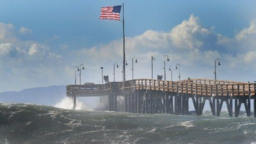 High tides at the Ventura Pier are seen in this file photo from December 2015. Waves of up to 7 feet are expected this week starting Tuesday.