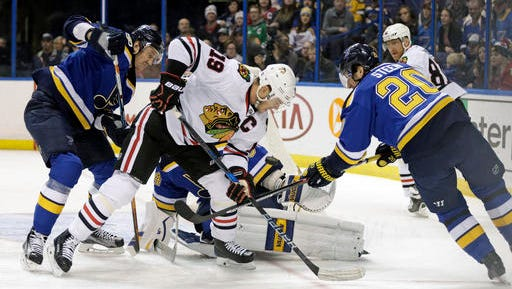 Chicago Blackhawks' Jonathan Toews (19) and St. Louis Blues' Alexander Steen (20) battle for the puck in front of St. Louis Blues goalie Jake Allen as Jay Bouwmeester defend during the first period of an NHL hockey game Saturday, Dec. 17, 2016 in St. Louis. (AP Photo/Tom Gannam)