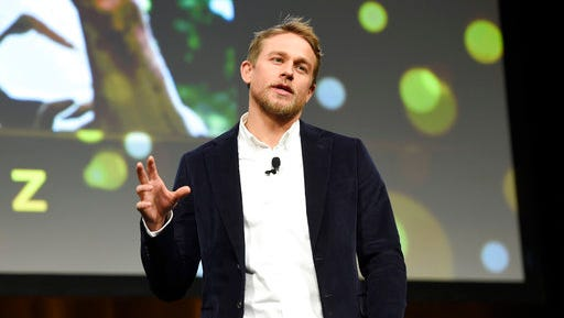 """Charlie Hunnam, a cast member in the upcoming film """"The Lost City of Z,"""" discusses the film during the Amazon Studios presentation at CinemaCon 2017 at Caesars Palace on Thursday, March 30, 2017, in Las Vegas."""