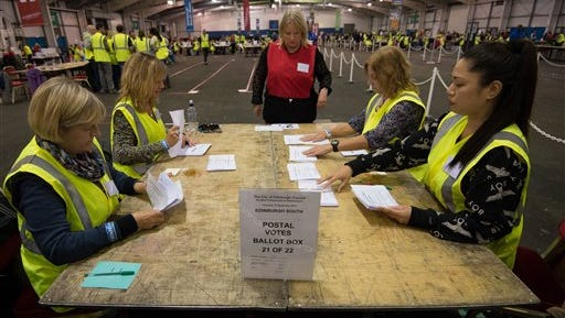 Counting begins in the Scottish Independence Referendum at the Royal Highland Centre in Edinburgh, Scotland, Thursday Sept. 18, 2014.