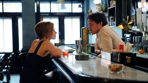"This photo released by courtesy of The Weinstein Company shows James McAvoy, right, and Jessica Chastain in a scene from the film, in ""The Disappearance of Eleanor Rigby."" (AP Photo/The Weinstein Company, Sarah Shatz)"