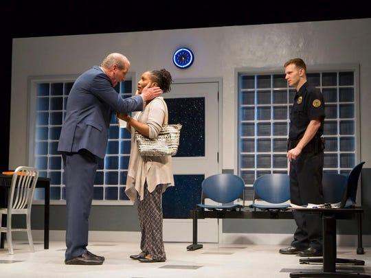 "John Bolger (left), Suzzanne Douglas and Mark Junek in a scene from ""American Son."""