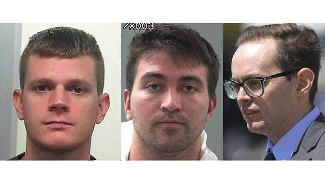 FILE - This photo combination shows from left, Aaron Shamo, Drew Crandall, and Sean Gygi. Shamo built a multimillion-dollar fentanyl trafficking empire from his computer with help from Crandall and Gygi. The case prosecutors brought against him reveals the ease with which the powerful opioid drug that has killed tens of thousands of people now moves around the world.. (AP Photo/File)