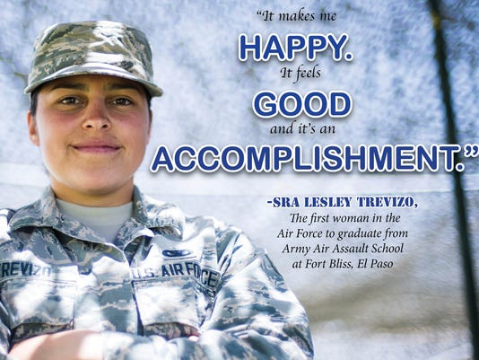 First Air Force woman to graduate from Fort Bliss Army Air Assualt School.