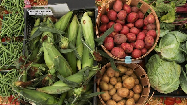 A variety of vegetables on display at a past Freehold Borough farmers market.