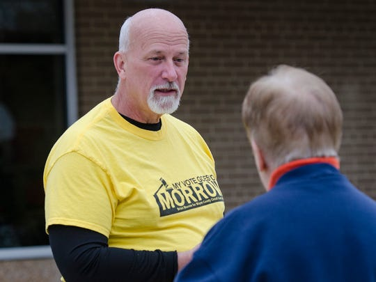 Northville resident Brian Morrow is one of 8 candidates running for 4 seats at Wayne County Circuit Court. He speaks with voters at Frost Middle School in Livonia.
