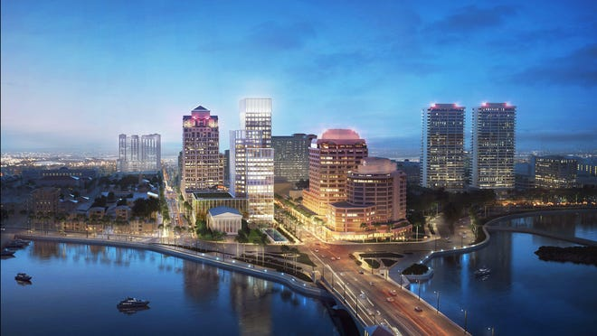 An artist's rendering of proposed One Flagler office tower at Okeechobee Boulevard and South Flagler Drive. Opponents of the construction say it will worsen traffic to and from Palm Beach via the Royal Park Bridge.