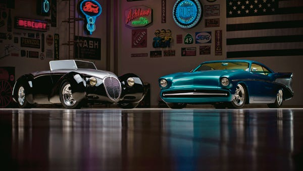 """Below: The 1936 Delahaye ?Whatthehaye? Street Rod (left) and the 1957 Chevrolet Bel Air ?Chezoom? Custom. The 1936 Delahaye """"Whatthehaye"""" Street Rod (left) and the 1957 Chevrolet Bel Air """"Chezoom"""" Custom from the Ron Pratte Collection crossing the block at the 2015 Barrett-Jackson Scottsdale Auction."""